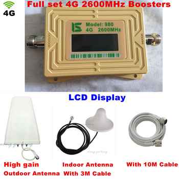 LCD Display 4G LTE Signal Booster 2600MHz 4G Antenna Mini FDD 4G LTE 2600 Mobile Signal Repeater Amplifier Kit