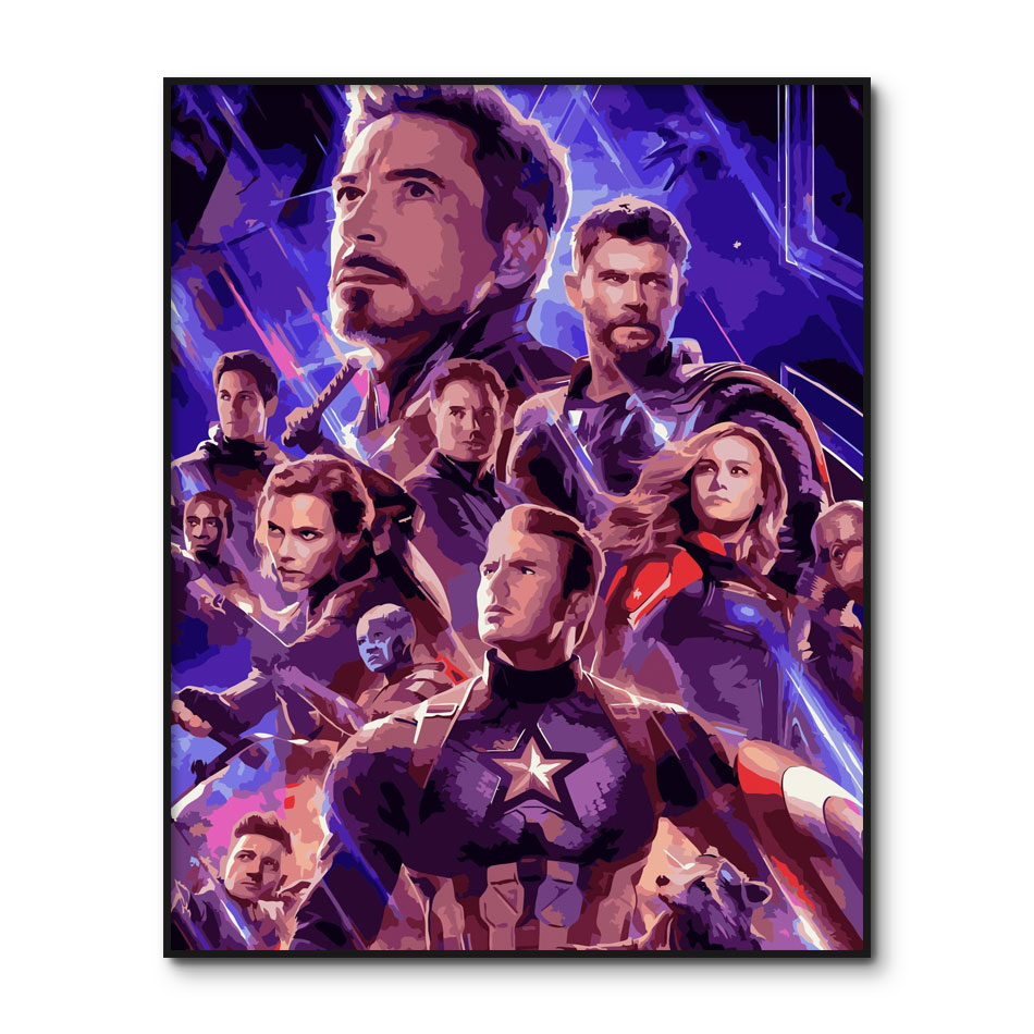 Avengers Endgame Poster Captain America Painting By Numbers Acrylic