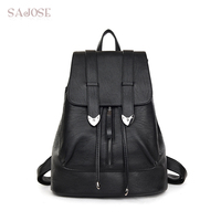 SAJOSE 2017 Japan And South Korea Style Leather High Quality String Backpack Shoulder Lady Women S