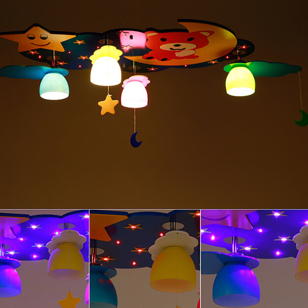 New Kids110V-220V E27 Wood Led Lamp Kids Ceiling Lamps Star Bear Kindergarten Children Room Led Ceiling Light Lamp