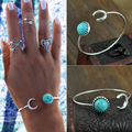 5 pieces/set Women's Jewelry Vintage Style Moon Turquoise Opening Cuff Bangle Bracelet