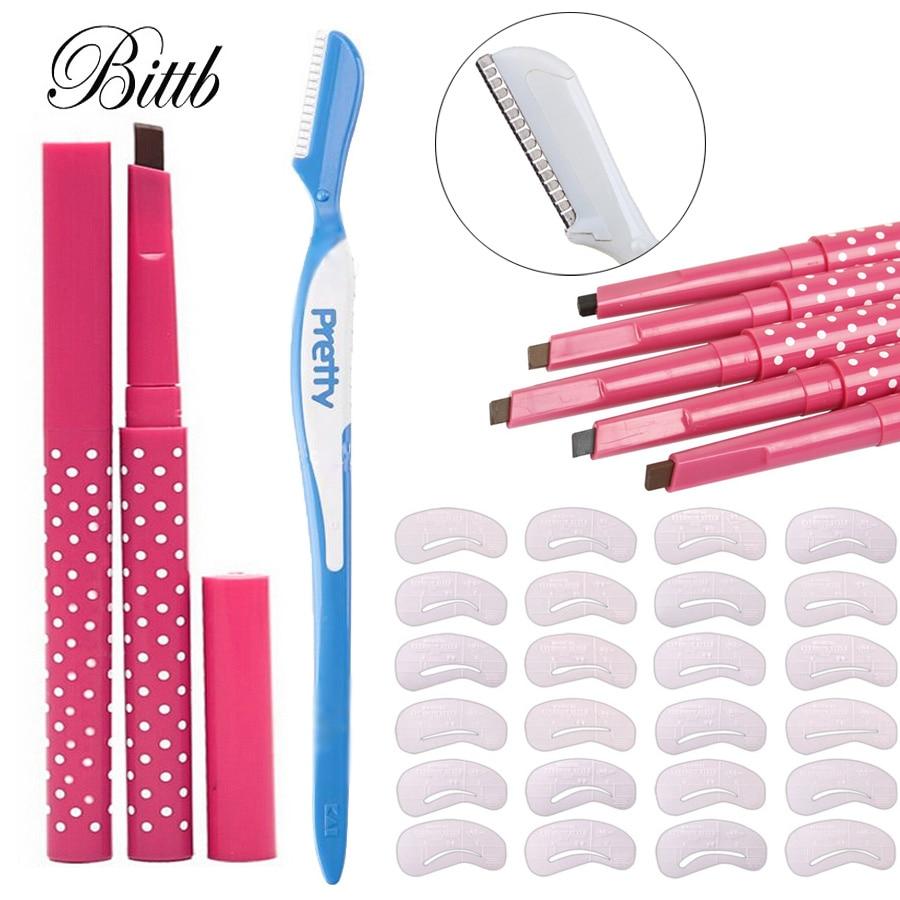 Bittb Eyebrow Makeup Set Eyebrow Enhancer Pencil Eyebrow Razor Trimmer 24 Styles Paint Stencil Template Cosmetic Beauty Tools