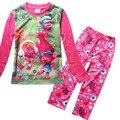 New chegou Primavera Outono das Crianças Trolls Meninas Dos Desenhos Animados Pijamas de Manga Longa Conjuntos de Roupas Sleepwear Homewear Robe Crianças Underwe