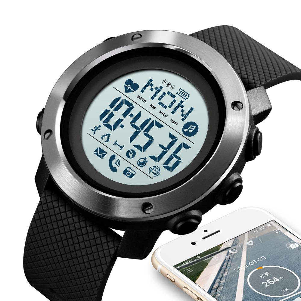SKMEI Outdoor Sports Watches Fashion Compass Digital Watch Men Bluetooth Heart Rate Fitness Wristwatches relogio Masculino