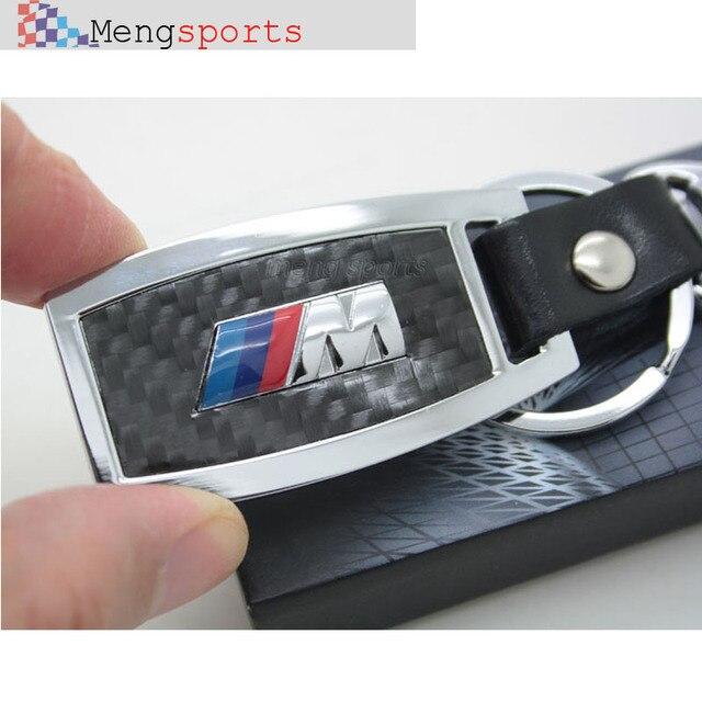 Pcs top Metal M coche azul rojo fibra de carbono del Metal llavero llavero