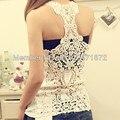 Envío gratis 2013 nuevo reloj ahueca hacia fuera crochet lace back tank top de mujer moda sexy gimnasio ladies camisola
