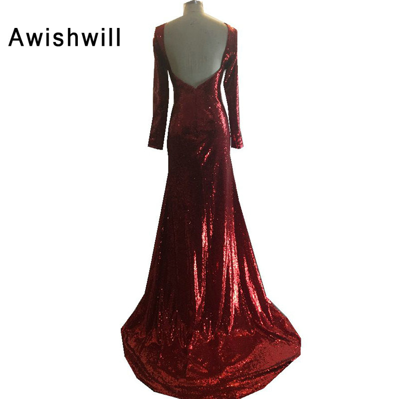 Cheap On Sale Vestido de Festa Full Sleeve Open Back Evening Gowns Dress  for Graduation 2018 Elegant Long Prom Dress Robe Sequin-in Evening Dresses  from ... 78c08ca4e089