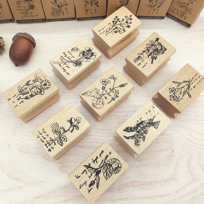 1 Pcs Vintage Plant Flower Wood Stamp DIY Craft Wooden Rubber Stamps For Scrapbooking Stationery Scrapbooking Standard Stamp