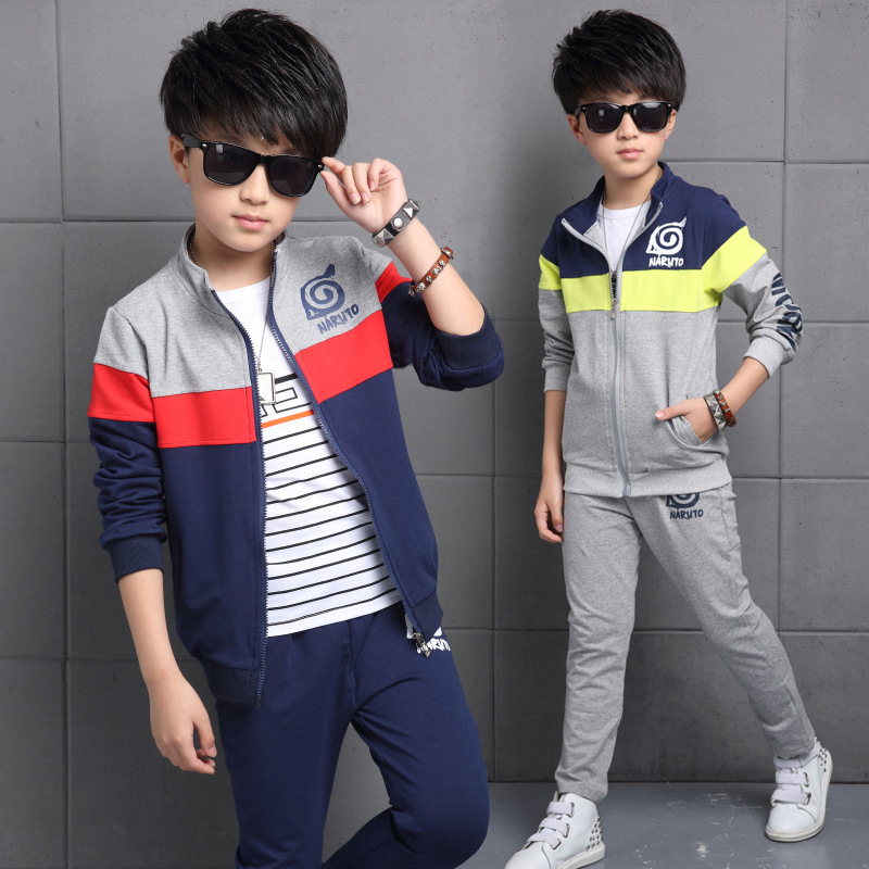 Hot Boys Sports Suit 2017 New Children Leisure Tracksuits For Big Boys Two-pieces Long Sleeve Kids Clothing Set Spring Autumn 2015 new arrive super league christmas outfit pajamas for boys kids children suit st 004