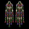 Projeto novo bonito colorido multicolor zircon 3.9 polegada brincos longos borla para mulheres, Alta qualidade banhado a ouro bijuterias