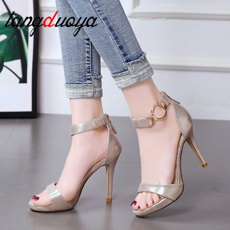 Women High Heel Sandals Buckle Platform Open Toe Mixed Coloor Sandals Women Graceful Shoes Party