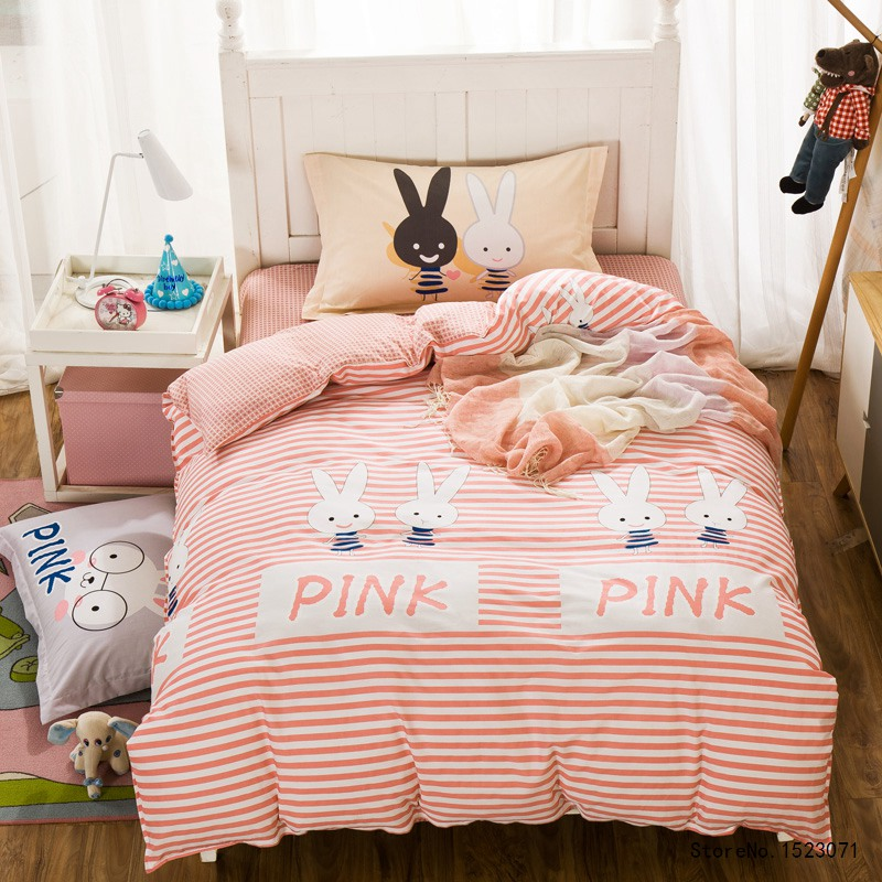 TUTUBIRD 3pcs pink rabbit striped bedding set cartoon kids duvet cover twin size bed sheet bedspread bed linen housse de couette ...