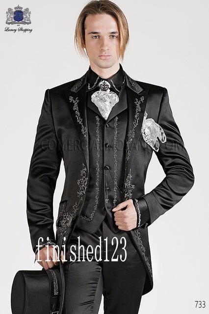 Estilo clássico Preto Do Bordado Do Noivo Smoking Padrinhos Ternos Prom Noivo de Casamento Dos Homens (Jacket + Pants + Vest) N: 701