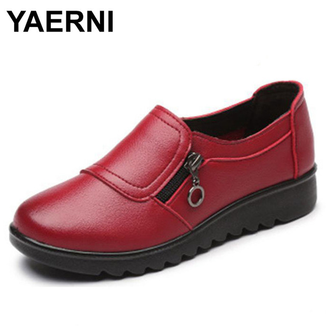 YAERNI Autumn Women's Shoes Fashion Casual Women Leather Shoes Ladies Slip On Comfortable Plus Size Work shoes free shipping