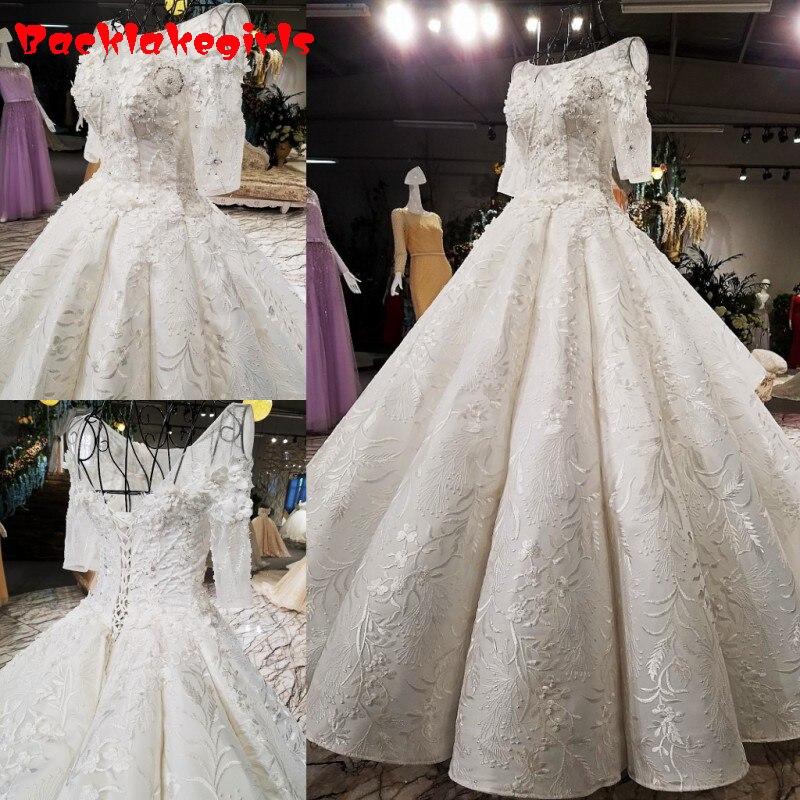 0088 Neue Luxus Hochzeit Kleid Design Lange Brautkleider Weiß Hohe Qualität Spitze Kleid