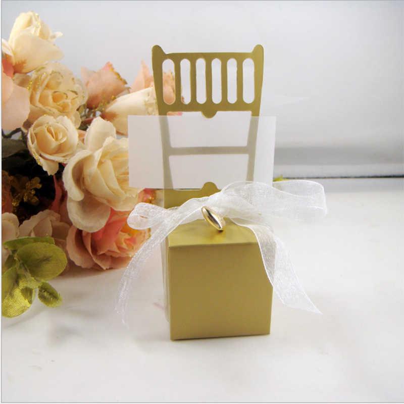 50 шт. стул Дизайн лазерная резка свадьбы пользу Коробки коробка конфет Сувениры и подарки с лентой Baby Shower Событие и Партия поставки
