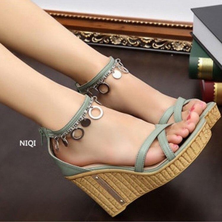 Summer Shoes Sweet Open Toe Wedges Women Sandals Back Zipper Tassel Platform Female High Heels Shoes Bohemia Package