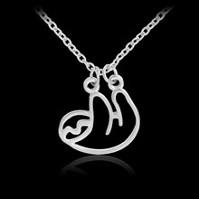 Folivora Sloth Necklace Rose gold Silver Color Metal Animal Pendant Necklaces Fashion Colar longo Jewelery Gifts for Girls Boys(China)