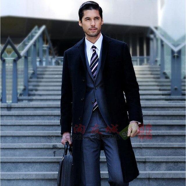 M-xxxl весна и осень мужчины бренд одежда свободного покроя большие нагрудные вилочная часть ультра длинная плащ верхняя одежда пальто