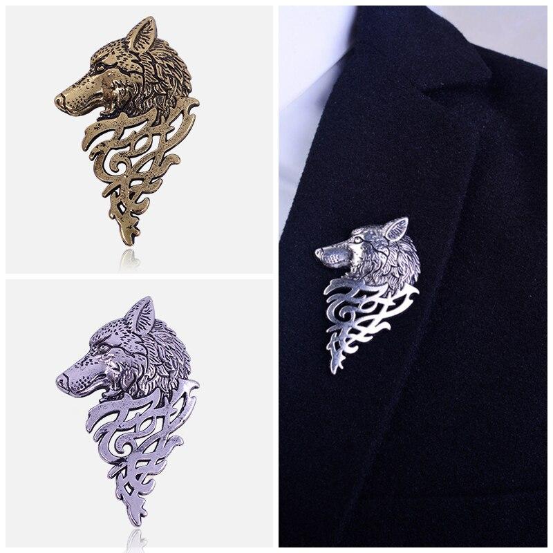 2019 Retro Wolf Broche Vintage Punk Kraag Pins Badge Broches Knop - Mode-sieraden - Foto 3