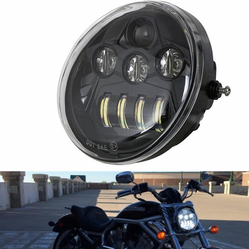 DOT E9 di Alluminio del Motociclo Faro Nero Per Harley V Rod VRSCA VROD VRSC Faro VRSC/V-ROD Motociclo HA CONDOTTO il FARO