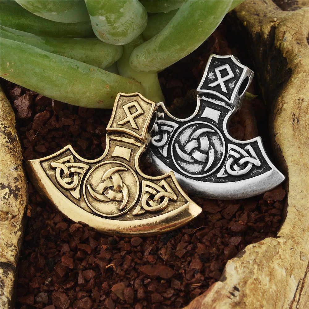 Hai Bên Viking Perun Ax Mặt Dây Chuyền Vòng Cổ Thư Rune Bện Mặt Dây Chuyền Vòng Cổ