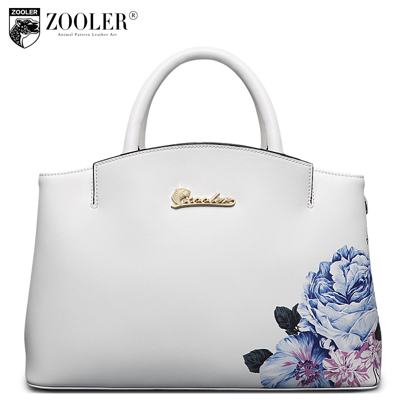 цена ZOOLER 2018 genuine leather bag woman leather handbag cowhide shoulder bag stylish hot embossing capacity bolsa feminina #10103