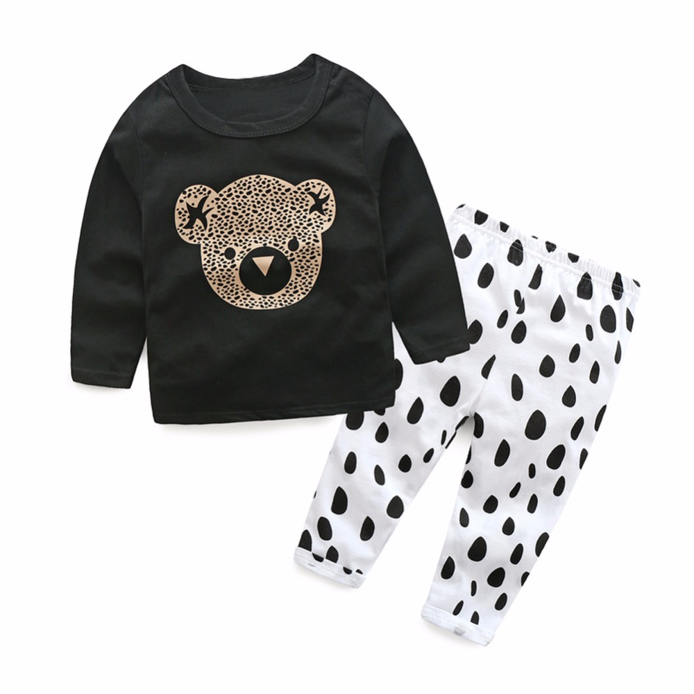2pcs Children Clothing Set Baby Boys Kids Bear Print Long Sleeve T-shirt Tops Dots Pants Outfit Baby Boys Girls Clothes flower sleeveless vest t shirt tops vest shorts pants outfit girl clothes set 2pcs baby children girls kids clothing bow knot