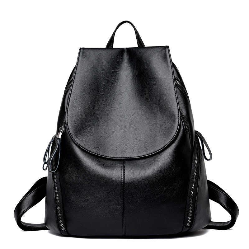 efd0f0e5864e 2018 новые модные женские кожаные рюкзаки высокого качества женские рюкзаки  Женская дорожная сумка на плечо колледж