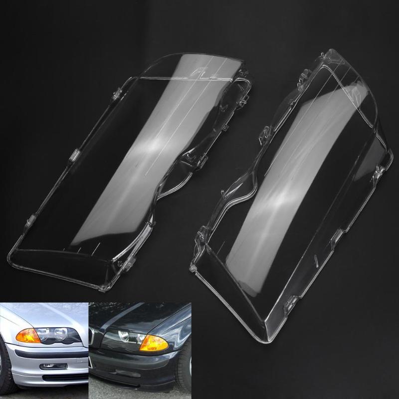 1 Pair Car Glass Cover For BMW E46 Headlight Clear 4 Door Automobile Left Right Headlight Lens Covers For BMW E46 318i 320i 323i