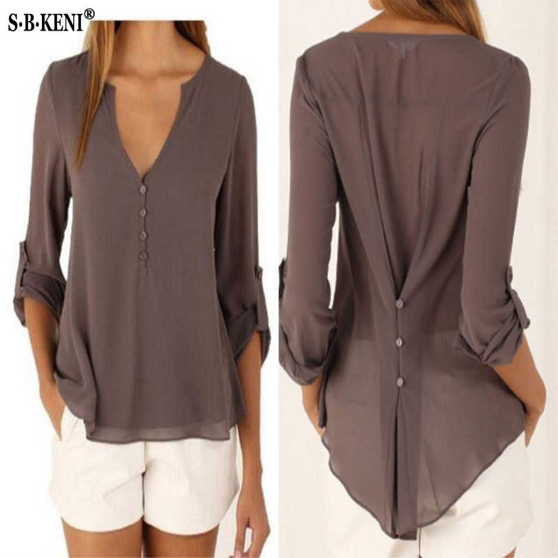 b5b8b3deda0 Fashion Women Blouse   shirt Plus Size S-4XL kimon Female long sleeve  chiffon blouse