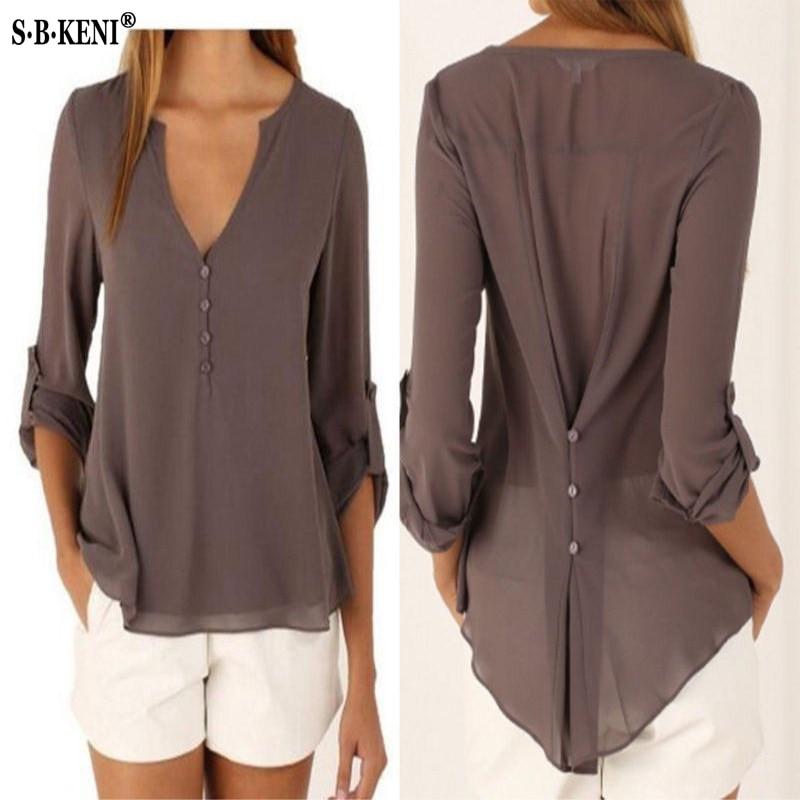 De las mujeres de la moda blusa y camisa Plus tamaño S-4XL kimon hembra de manga larga Blusa de gasa elegante Chic dama Tops sueltos de gasa camisa