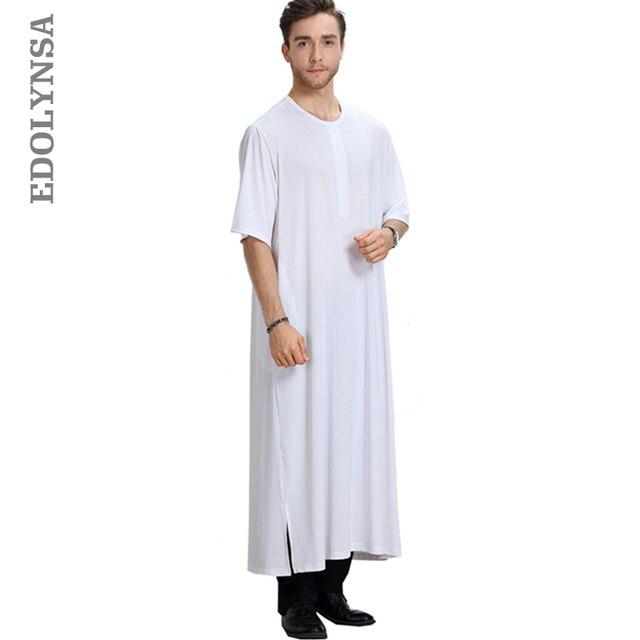 20b0c24f115 US $23.31 30% OFF|Muslim Fashion Men's Clothing Accessories Plus Size Men  Robe Kaftan Comfortable Robe Solid Muslim Robes Kaftan Man Abaya D440-in ...