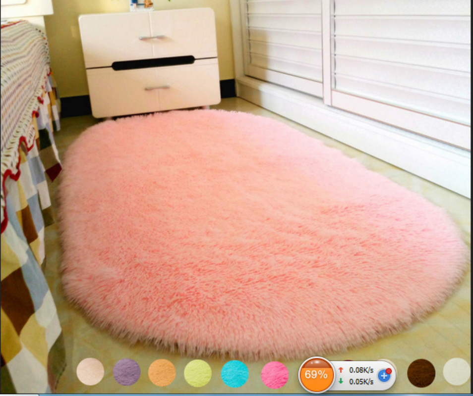 Solid Color Ellipse Carpet Mat Long Hair Shaggy Soft Area Rug Bedroom Living Room Anti Slip Kids Mat (1pc) 12 Colors