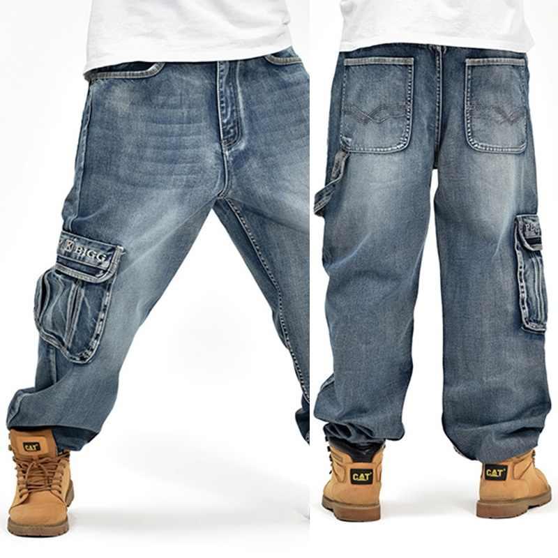 Yeni 2019 moda Baggy tarzı erkek kot pantolon hip hop dansçıları gevşek büyük cep erkek kaykay Rap Punk sıkıntılı artı boyutu 30-44 46