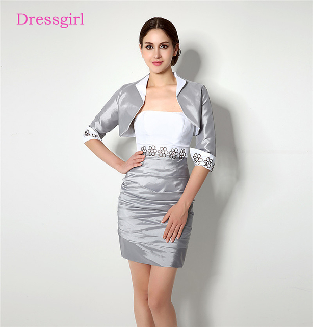 Silver 2018 Mother Of The Bride Dresses Sheath With Jacket Taffeta ...