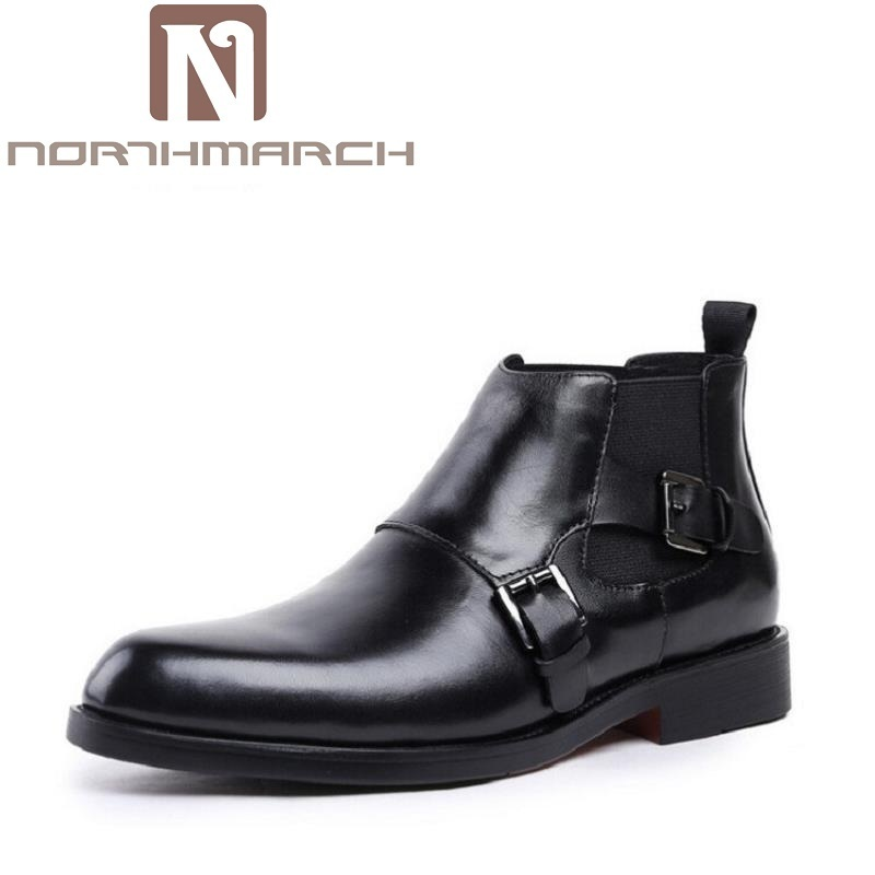 NORTHMARCH Men Black Retro Buckle Punk Martin Boots Motorcycle Boots Leather Cowhide Autumn Men Shoes Tenis Masculino Adulto women martin boots 2017 autumn winter punk style shoes female genuine leather rivet retro black buckle motorcycle ankle booties