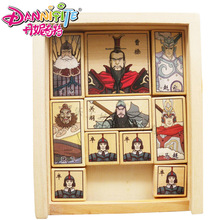 Danniqite Classic Chinese Wooden Traditional Escape Game Toy Colorful Three Kingdom Huarong Dao Path Klotski Sliding