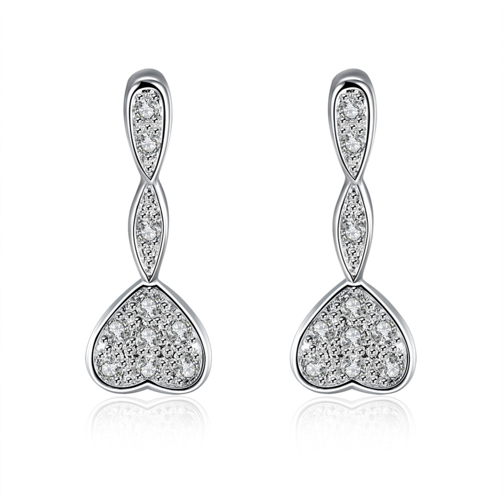 21e5f4268b02 925 dulce corazón enlace colgante con cristal de piedra brazalete gancho  pendiente para las mujeres chica de moda fina de moda jewerly