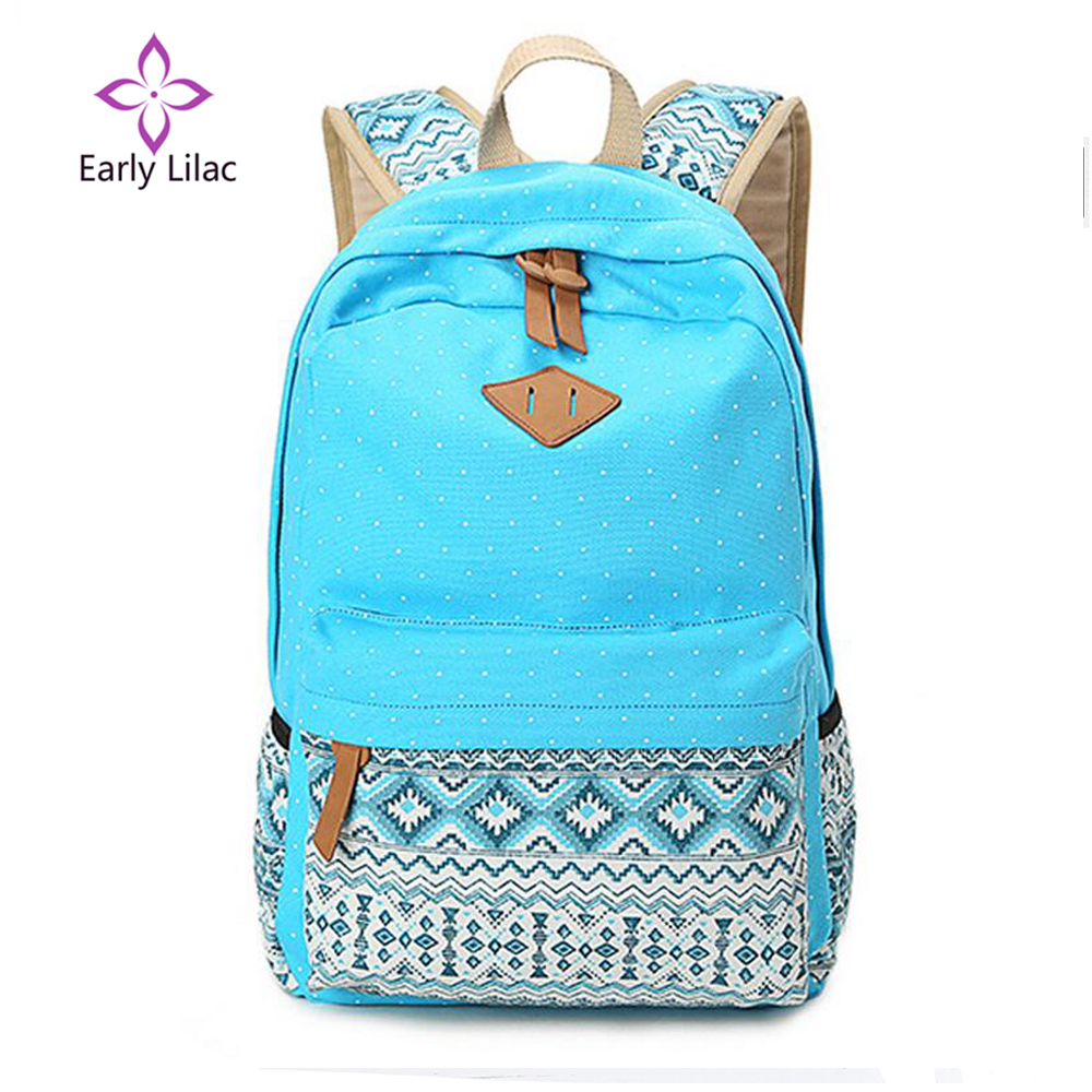Early Lilac Girl School Bags For Teenagers Cute Dot Printing Canvas Women Backpack Mochila Feminina Casual Bag School Backpack romanson tm 2649 mw bk