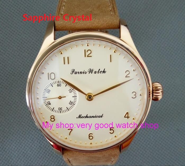 Sapphire Crystal 44mm PARNIS Butter yellow dial Asian 6497/3600 Gooseneck Mechanical Hand Wind movement men's watch 91 sapphire crystal 2017 new fashion 44mm parnis asian 6497 3600 mechanical hand wind movement men s watch 6a