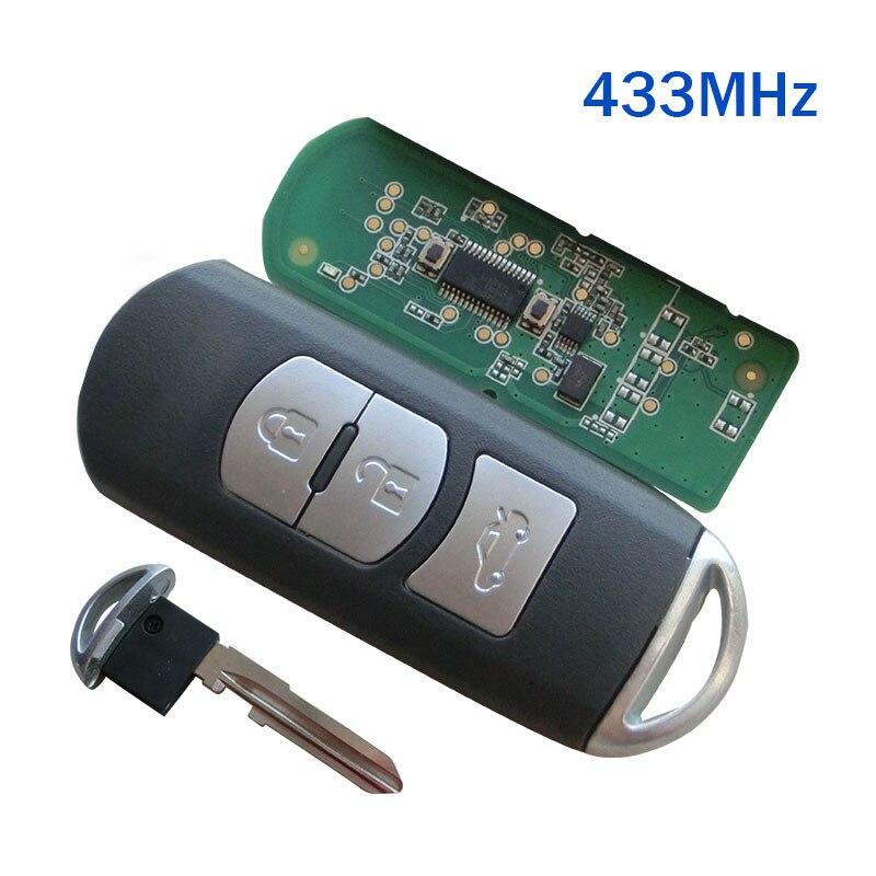 Remplacement Nouveau Intelligent À Distance Key Fob 433 MHz Fit Pour Mazda 3 6 CX-4 CX-5 MX-5 SKE13E-01 Avec Clé D'urgence