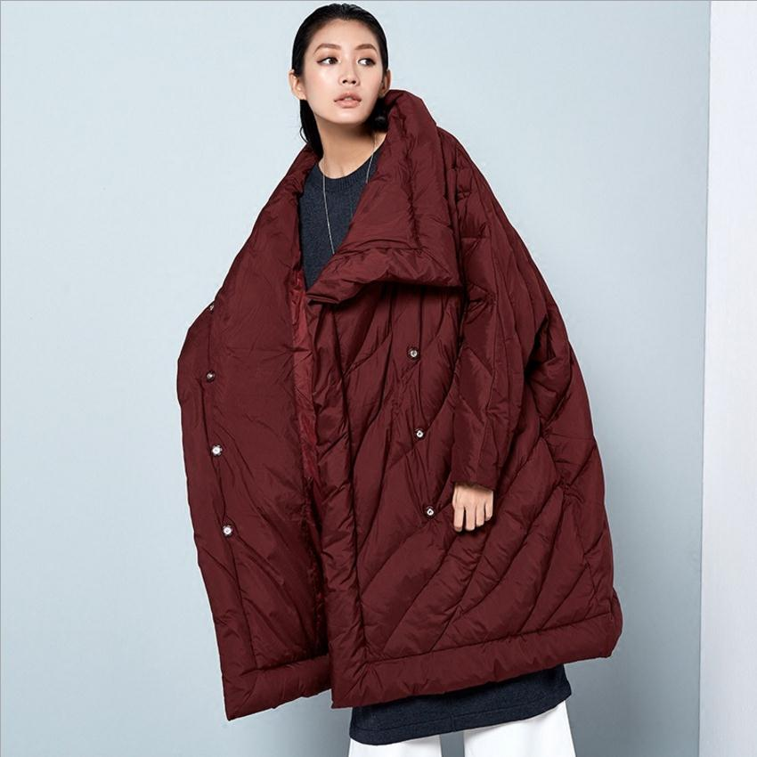European famous fashion brand bat sleeve coat 2018 womens new winter duck down jacket X-longer thicker warm down jacket wj1533