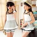 3-12 Anos de Idade Meninas Vestido de Princesa + T camisa 2 Pcs Conjunto menina Em Camadas Vestido Tutu Conjuntos de Roupas Conjuntos de Roupas Meninas VERÃO