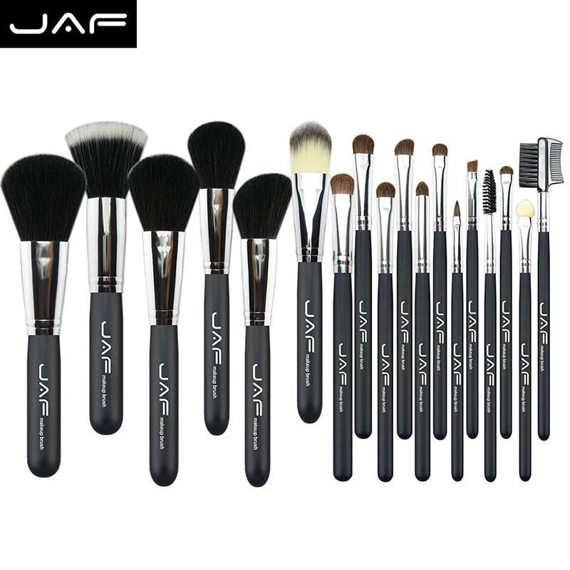 JAF 20Pcs Professional Natural Hair Face Eyeshadow Powder Blusher Foundation Contour Cosmetic Brushes Set Tools Kits #88357