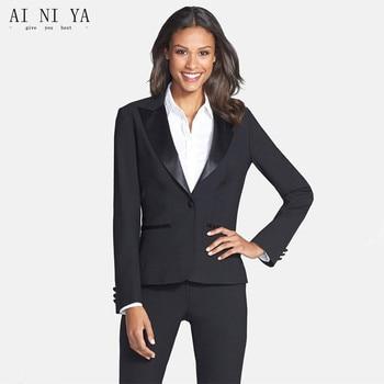 Black Women Business Suits Formal Office Suits Work Cotton Blended 2 Piece Women Trouser Suit Female Office Uniform Blazer