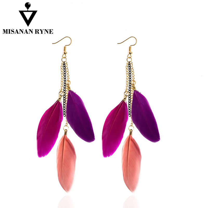 SHUANGR Fashion Women Ear Jewelry fluorescent Color Drop Earrings Ladies Long Tassel Feather Earrings 10 Colors Available