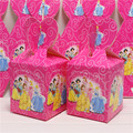 Event Party Supplies 1bag 8pcs Baby Shower Favor Cartoon Princess Favor Box Candy Box Gift Case Birthday Party Souvenir Kids