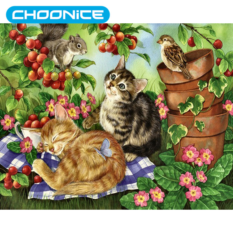 Cat Diamond Painting Red Fruit Garden And Cat DIY 3D Diamond Embroidery Small Animals Cross Stitch Pokemon Kitten Picture Mosaic
