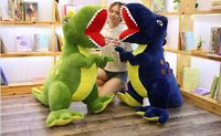 stuffed toy huge 150cm cartoon dinosaur plush toy opening mouth dinosaur soft doll sleeping pillow Christmas gift b2006